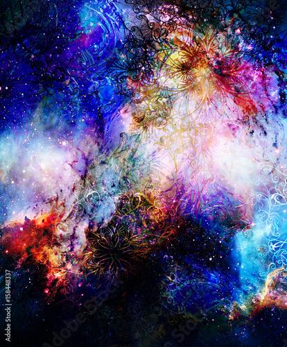 ornamental mandala in cosmic space, graphic effect.