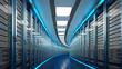 Leinwanddruck Bild - Modern datacenter. Cloud computing. 3d rendering