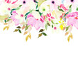 Watercolor floral template for greeting cards, invitations