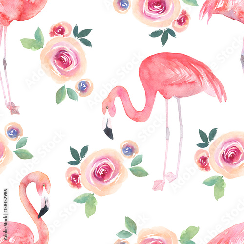 Watercolor seamless pattern. Floral print with flamingo and roses - 158452986