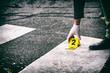 Putting the crime scene marker on the asphalt