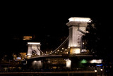 Chain bridge, famous landmark in Budapest, Hungary by night