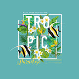 Tropical Leaves and Flowers, Exotic Fish Graphic Design for T-shirt, Fashion, Prints, Tropic Banner and Flyer in Vector