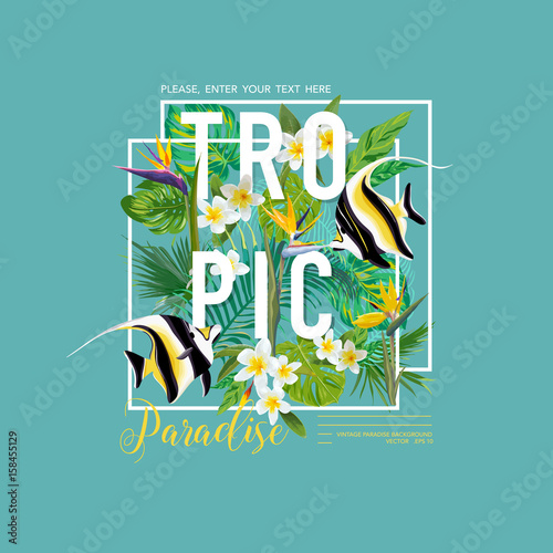 Tropical Leaves and Flowers, Exotic Fish Graphic Design for T-shirt, Fashion, Prints, Tropic Banner and Flyer in Vector - 158455129