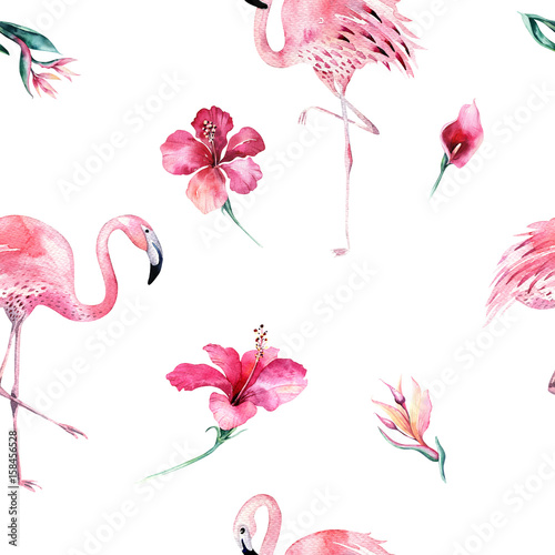 Tropical isolated seamless pattern with flamingo. Watercolor tropic drawing, rose bird and greenery palm tree, tropic green texture, exotic flower. Aloha set - 158456528
