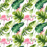 Tropical isolated seamless pattern with flamingo. Watercolor tropic drawing, rose bird and greenery palm tree, tropic green texture, exotic flower. Aloha set - 158456707