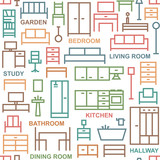 Furniture themed vector seamless outline pattern background 4 - 158457917