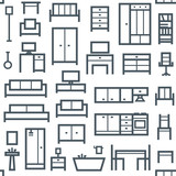 Furniture themed vector seamless outline pattern background 5 - 158457929