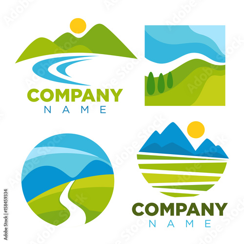 Foto op Canvas Wit Green nature landscape templates for company vector icons
