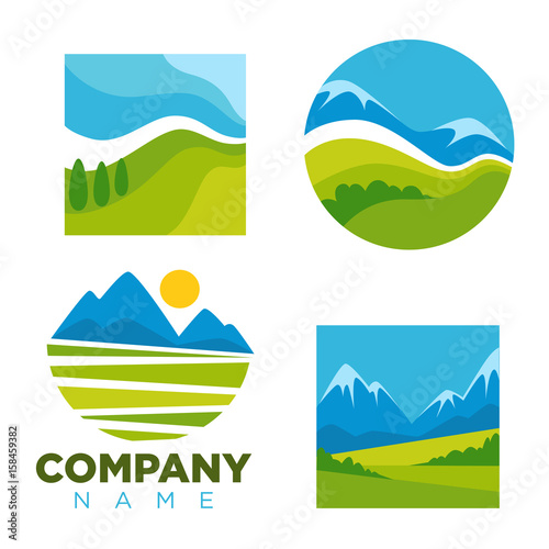 Foto op Canvas Wit Green nature landscape vector icons templates for company