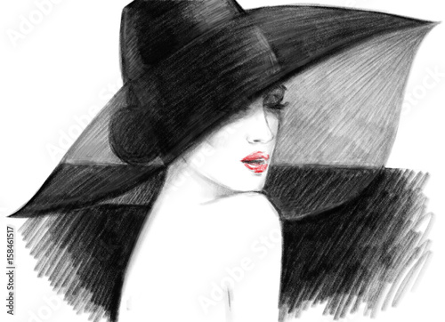 Fotobehang Anna I. Beautiful woman. Fashion illustration