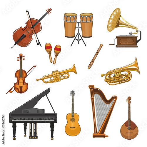 Fototapeta Vector icons set of musical instruments
