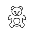 Isolted Bear Outline Symbol On Clean Background. Vector Teddy Element In Trendy Style.