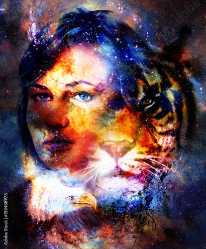 Goodnes woman and tiger and eagle. Cosmic Space background.