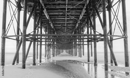 Blackpool pleasure beach pier black and white