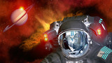 Astronaut planet Saturn spaceman helmet ufo space martian alien et extraterrestrial. Elements of this image furnished by NASA.