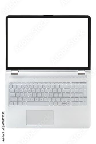 Poster Convertible laptop computer with blank screen isolated on white background