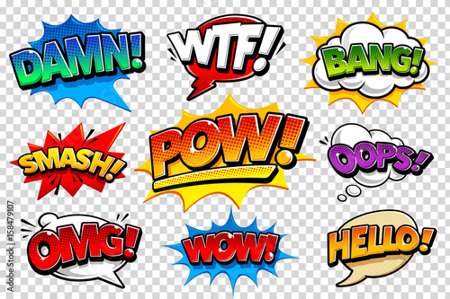 Staande foto Pop Art Comic Speech Bubbles