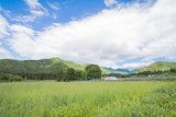 Beautiful landscape of Takayama mura at sunny summer or spring day and blue sky in Kamitakai District in northeast Nagano Prefecture Japan.