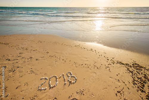 Papiers peints Beige 2018 New Year text on sand
