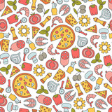 seamless pattern with pizza design elements - 158484354