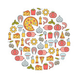 round design element with pizza icons - 158484366