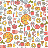 seamless pattern with pizza design elements - 158484386