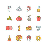 set of minimalistic pizza icons - 158484396
