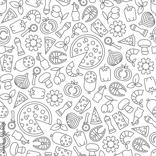 seamless pattern with pizza design elements - 158484341