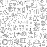 seamless pattern with traveling and tourism design elements - 158484713