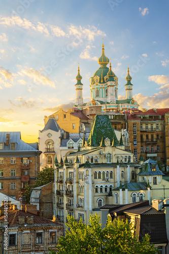 Fotobehang Kiev view of Andrew's Descent in Kyiv, Ukraine