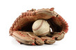 baseball glove over white