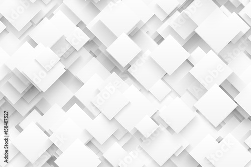 Abstract 3D Vector Technology White Background. Technological Crystalline Structure. Blank Backdrop - 158487527