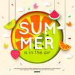 Summer background with hanging fruit, berry, paper butterfly, clouds. vector illustration - 158501303