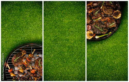 Top view of fresh meat and vegetable on grill placed on grass, divided into frames. Barbecue, grill and food concept. Free space for text