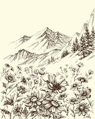 Mountain landscape, flowers border sketch © Danussa
