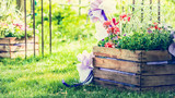 handmade flowerbed with beautiful colored flowers inside, standing on the lawn in the park on a background of blurred natural landscape and the sunlight, sunny summer day