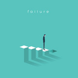 Business failure and bakruptcy vector illustration concept. Businessman on steps leading to stock market crash, crisis, recession, decline - 158507148