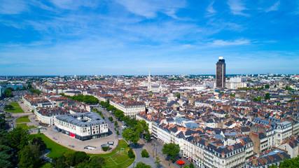 Photographie aérienne du centre de Nantes, en Loire Atlantique, France