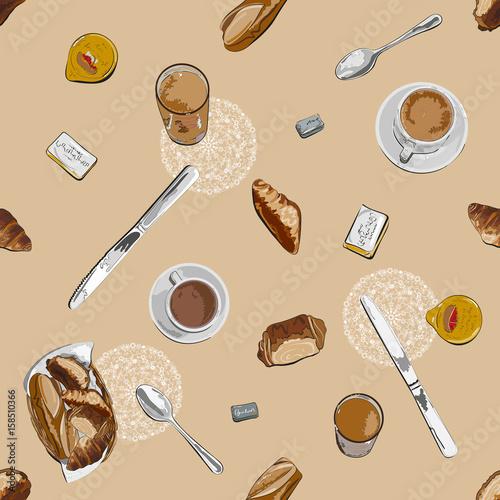 Hand drawn seamless pattern of breakfast ingredients in retro style in beige tones