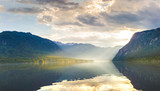 Sunset on the lake Bohinj. Slovenia