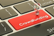 Crowdfunding concept on keyboard button. 3D rendering