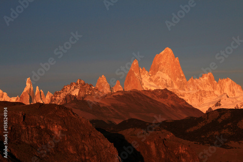Fitz Roy and Cerro Torre mountainline at sunrise, Los Glaciares National Park, El Challten, Patagonia, Argentina
