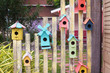 Bird house made of wood and painted colorful