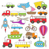 Children's drawing style toy vechicles
