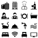 Hotel, resort and hospitality icon set - 158546147