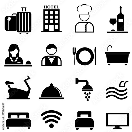 Hotel, resort and hospitality icon set