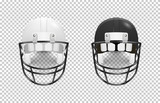 Realistic classic american football helmet set - black and white color. Isolated on transparent background. Front view. Design template closeup in vector. Mock-up for branding and advertise.
