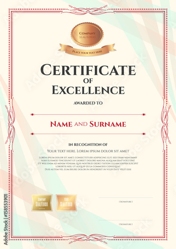 portrait certificate of excellence template on abstract ribbon background with vintage border style