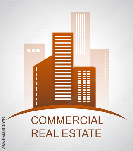 Commercial Real Estate Means Offices Buildings 3d Illustration